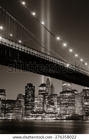 New York City downtown Brooklyn Bridge and september 11 tribute at night - stock photo