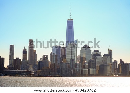 New York City downtown skyline panorama view over Hudson River