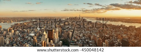 New York City downtown skyline panoramic view at sunset.
