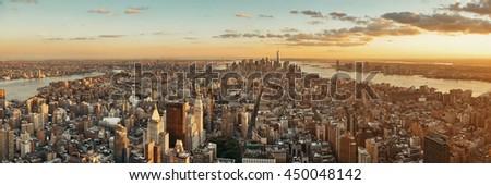 New York City downtown skyline panoramic view at sunset. - stock photo