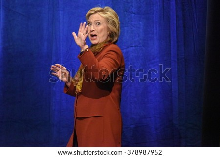 NEW YORK CITY - FEBRUARY 16 2016: Democratic presidential candidate Hillary Clinton appeared at Shomburg Center in Harlem to outline her vision for America's future. - stock photo