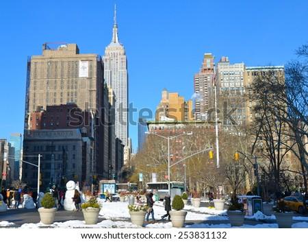 New York City - February 17, 2015: New York City Manhattan midtown view with Empire State Building, New York City, USA. - stock photo