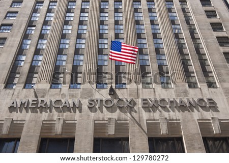 NEW YORK CITY - FEBRUARY 7: The historic American Stock Exchange (AMEX) on February 7, 2010 in New York, NY. AMEX is now controlled by the NYSE but was originally formed by curbstone brokers - stock photo