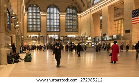 NEW YORK CITY - FEBRUARY 21, 2015:  View of main concourse at historic Grand Central Terminal railway station in midtown Manhattan. - stock photo