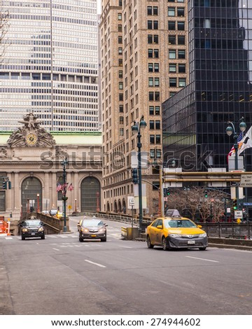 NEW YORK CITY - FEBRUARY 21, 2015:  View of Park Avenue towards Grand Central Terminal in midtown Manhattan.  - stock photo