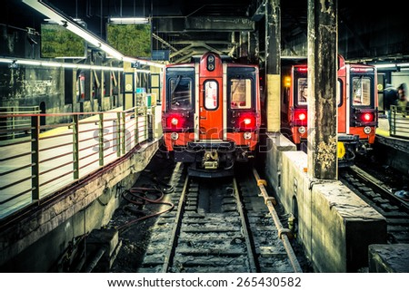 NEW YORK CITY - FEBRUARY 1, 2015:  View of train in subway station at historic Grand Central Terminal in Manhattan - stock photo