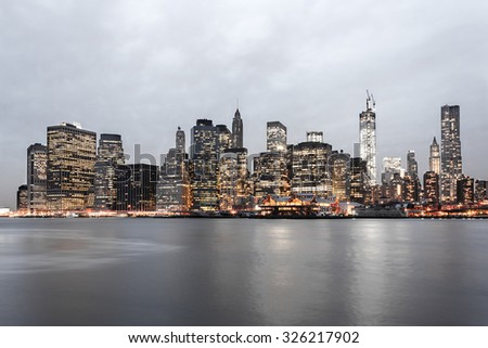 New York City Financial District Skyline at Twilight