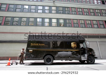 NEW YORK CITY - FRIDAY, JUNE 19, 2015: An United Parcel Service (UPS) delivery truck and a driver in Manhattan. - stock photo