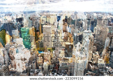 New York city grunge and retro style - stock photo