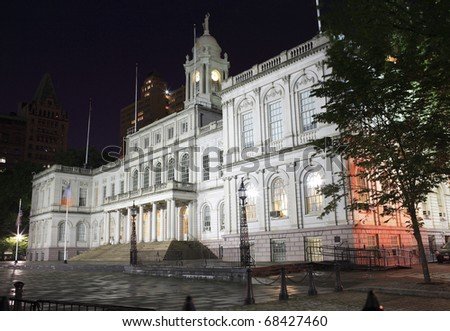 New York City Hall is located at the center of City Hall Park in the Civic Center section of Lower Manhattan. - stock photo