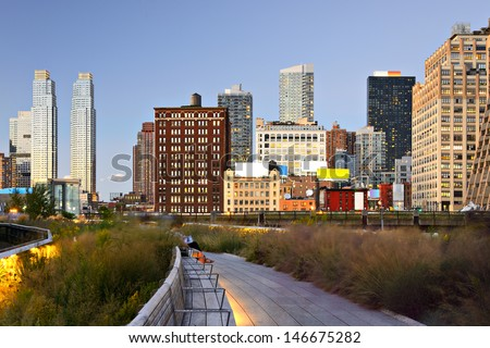 New York City High Line at night in New York City. - stock photo