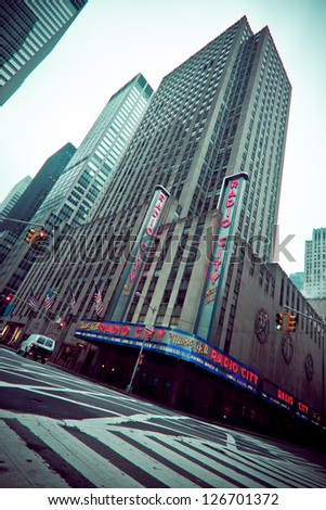 NEW YORK CITY - JAN 12:  Nostalgic view of Radio City Music Hall in midtown Manhattan on Jan 12 2013. This historic theater in Rockefeller Center opened in 1932. - stock photo