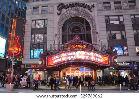 NEW YORK CITY - JAN 13, 2013: Paramount Theatre is a famous movie palace located at Broadway in Times Square, Manhattan on May 6th, 2013 in New York City, USA.