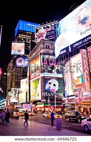 NEW YORK CITY - JAN 11: Times Square, featured with Broadway Theaters and animated LED signs, is a symbol of New York City and the United States, January 11, 2011 in Manhattan, New York City. - stock photo