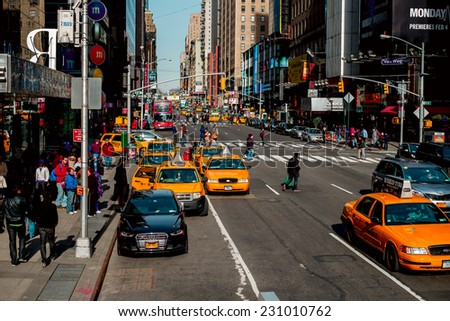 NEW YORK CITY -  JAN 10: Traffic at the Manhattan streets, Janyary 10, 2013 in Manhattan, New York City. USA. - stock photo