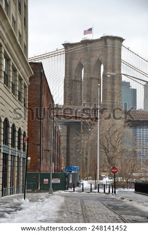 New York City - January 26, 2015: Brooklyn Bridge in New York City, USA. - stock photo