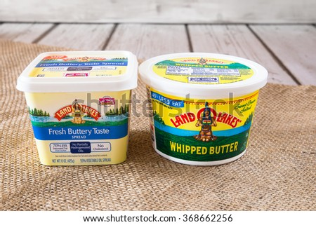 NEW YORK CITY - JANUARY 22, 2016:  Pictured here are two types of Land O'Lakes creamery butter products. - stock photo