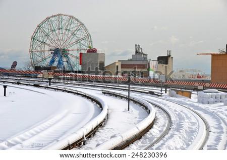 NEW YORK CITY - JANUARY 21, 2014: Snow storm in New York City, USA. - stock photo