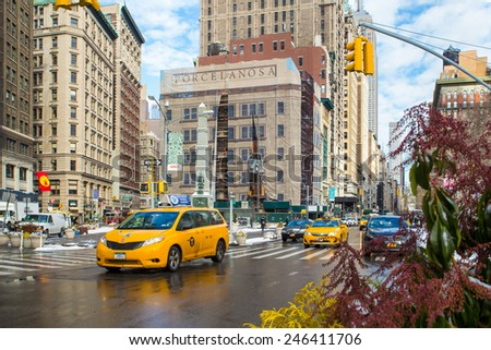 NEW YORK CITY - JANUARY 9, 2015:  View of Fifth Avenue in the Flatiron District in Midtown Manhattan. - stock photo