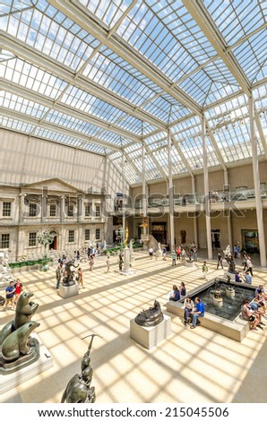 NEW YORK CITY - JUL 17: In the Metropolitan Museum of Art's on July 17, 2014 in New York. The Charles Engelhard Court in the American Wing. - stock photo