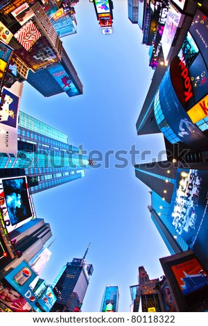 NEW YORK CITY - JUL 8: Times Square, featured with Broadway Theaters and huge number of LED signs, is a symbol of New York City and the United States, July 8, 2010 in Manhattan, New York City. - stock photo