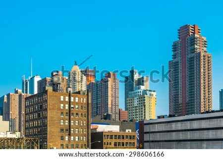 NEW YORK CITY - JULY 8:  Cityview of New York from the eastside of the harbor in late afternoon light on July 8, 2010 in Manhattan, New York City. - stock photo