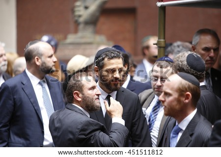 NEW YORK CITY - JULY 3 2016: Friends & family bid farewell to author, Nobel Laureate & Holocaust survivor Elie Wiesel in a morning funeral service in Manhattan's Park East Synagogue.