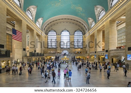 NEW YORK CITY - JULY 7: Interior of Grand Central Station on July 7, 2015 in New York City, NY. The terminal is the largest train station in the world by number of platforms having 44