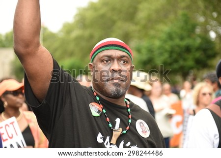NEW YORK CITY - JULY 19 2015: National Action Network & SEIU members staged a rally to mark the anniversary of Eric Garner's death in Cadman Plaza, Brooklyn