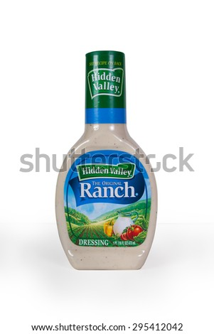 NEW YORK CITY - JULY 9, 015:  Plastic bottle of Hidden Valley Ranch salad dressing against a white background. - stock photo