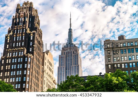 NEW YORK CITY - JULY 17, 2016: The Empire State Building wiev, New York, USA. The Empire State Building is a 102-story landmark and American cultural icon in New York City