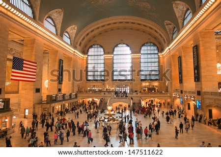 NEW YORK CITY - JUN 10: Interior of Grand Central Station on July 10, 2013 in New York City, NY. The terminal is the largest train station in the world by number of platforms having 44 - stock photo
