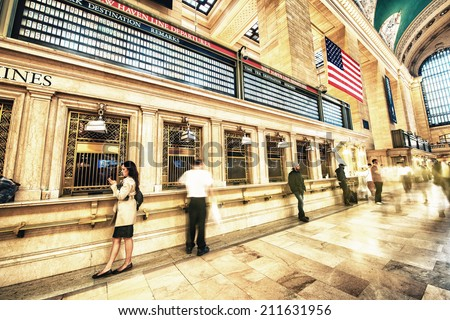 NEW YORK CITY - JUN 10: Interior of Grand Central Station on June 10, 2013 in New York City, NY. The terminal is the largest train station in the world by number of platforms having 44 - stock photo