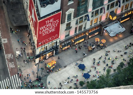 NEW YORK CITY - JUN 9: Macy's Herald Square at 34th St. in NYC on June 9, 2013. The store has been hosting the annual Thanksgiving Day Parade since 1924 and is a major holiday attraction - stock photo