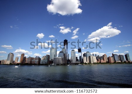 NEW YORK CITY - JUNE 23: A general view of lower Manhattan, including the nearly completed World Trade Center, in New York City, on Saturday, June 23, 2012.