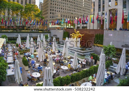 NEW YORK CITY - JUNE 2016: Architectural buildings at the Rockfeller center of Manhattan in New York