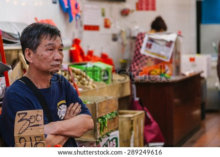 NEW YORK CITY - JUNE 16: Chinatown with a population of 100,000 people is the home to the largest enclave of Chinese people in the Western Hemisphere, on June 16, 2015 in Manhattan, New York  - stock photo