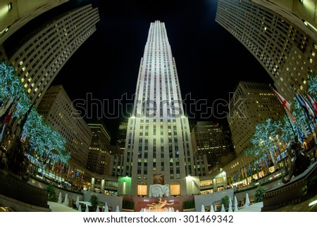NEW YORK CITY - JUNE 13 2015: City Rockfeller Center skyscraper illuminated at night - stock photo