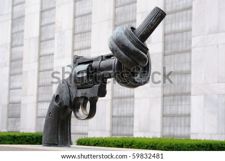 NEW YORK CITY - JUNE 17: Non Violence is a sculpture by Fredrik Reutersward at the United Nations Headquarters in June 17, 2010 in New York, New York. - stock photo