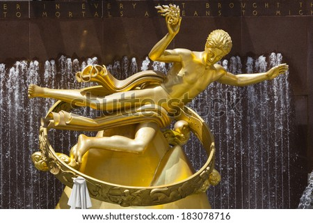 New York City - June 22: Prometheus Statue at Rockefeller Center in New York on June 22, 2013 - stock photo