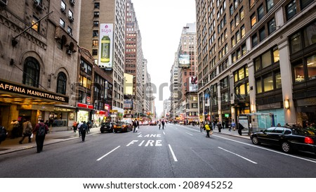 NEW YORK CITY - JUNE 28: Street of New York City on 11th October in New York City. New York metropolitan area, one of the most populous urban agglomerations in the world. - stock photo