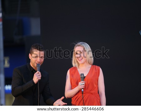 NEW YORK CITY - JUNE 7 2015: the 69th annual Tony Awards ceremony was held at Radio City Music Hall along with a simulcast in Times Square. Jeanna De Waal & Justin Guarini - stock photo