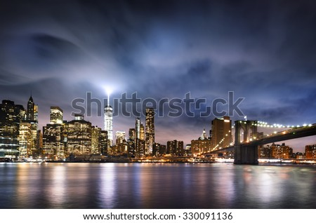 New York  City lights - stock photo