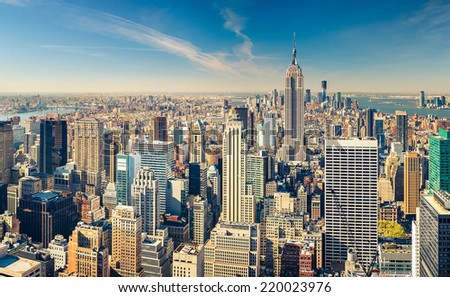 New York City Manhattan aerial view - stock photo