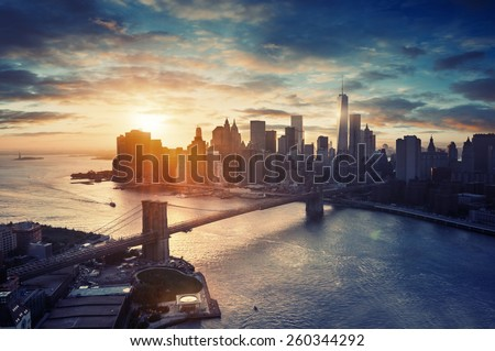 New York City - Manhattan after sunset , beautiful cityscape - stock photo