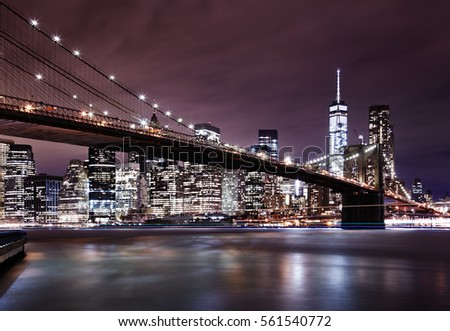 New York City, Manhattan and Brooklyn Bridge