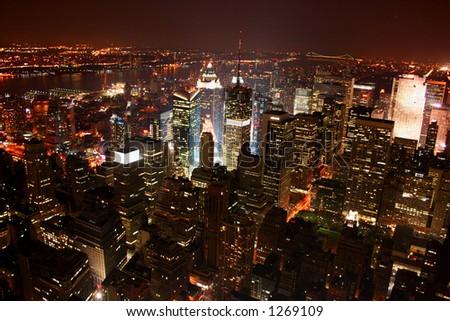 New York City / Manhattan at night - stock photo