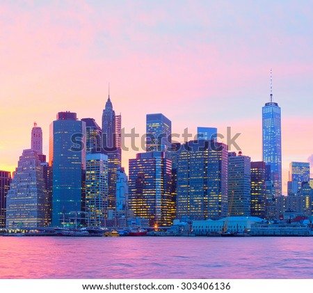 New York CIty, Manhattan at sunset - stock photo