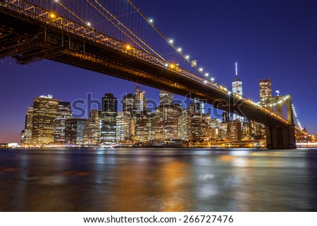 New York City Manhattan Brooklyn Bridge evening night skyline downtown