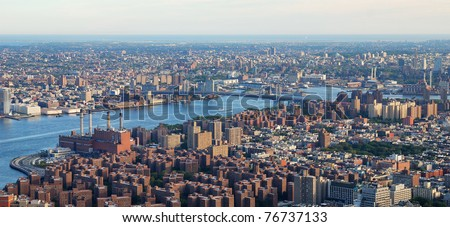 New York City Manhattan downtown aerial view with Williamsburg Bridge and Brooklyn